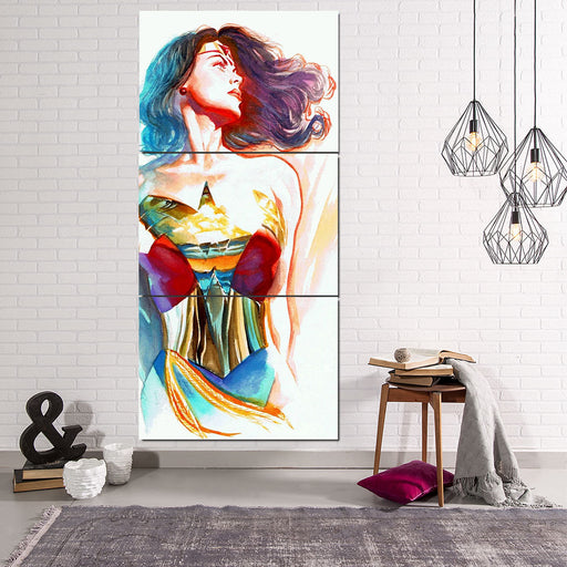 Wonder Woman Crayon Drawing Art Design White Cool 3 Pcs Canvas Vertical