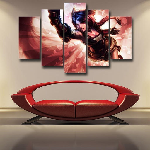 League of Legends Ahri Nine Tails Fox Battle Fighter Canvas 5pc Wall Art - Superheroes Gears
