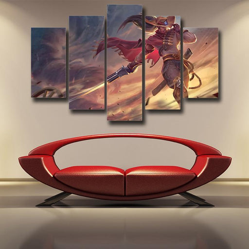 League of Legends High Noon Yasuo Swordsman Pastel 5pc Wall Art