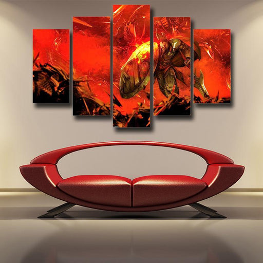 League of Legends Pantheon Aegis Protection Fire Vibrant 5pc Wall Art