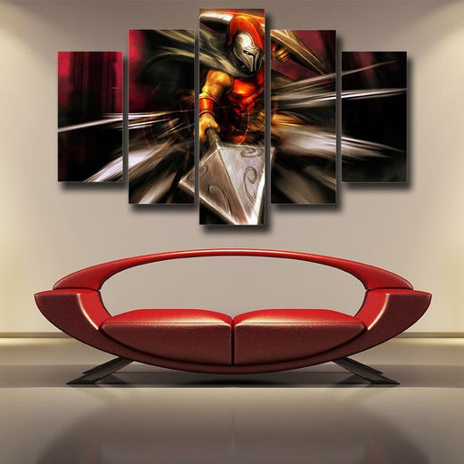 League of Legends Pantheon Artisan of War Fighter 5pc Canvas Printed