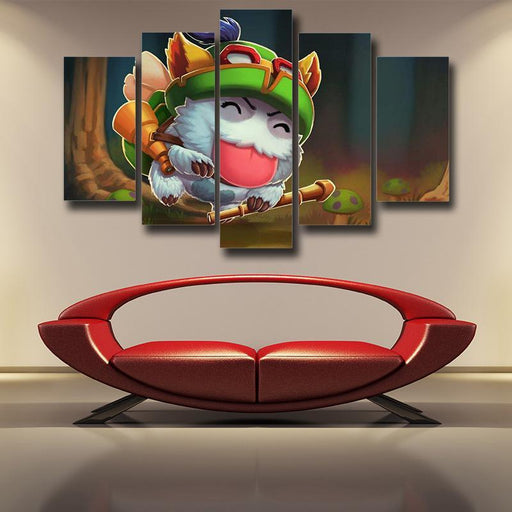 League of Legends Teemo Champion Funny Theme Canvas 5pc Wall Art