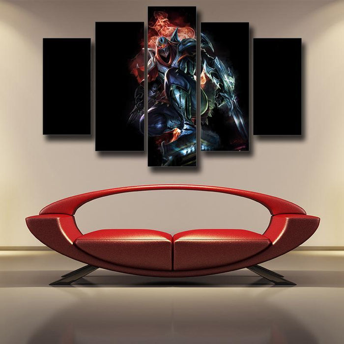 League of Legends Zed Master of Shadow Character Canvas 5pc Wall Art