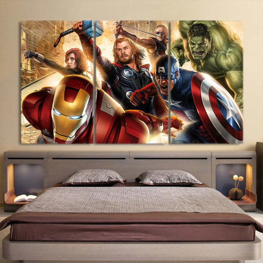 Marvel The Avengers Main Superheroes Fighting Cool 3Pcs Wall Art