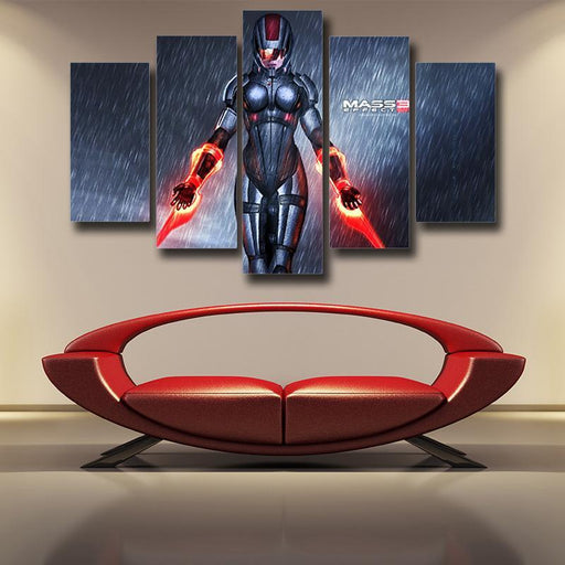 Mass Effect Captain Shepard Dual Laser Blades Cool 5pc Wall Art Prints