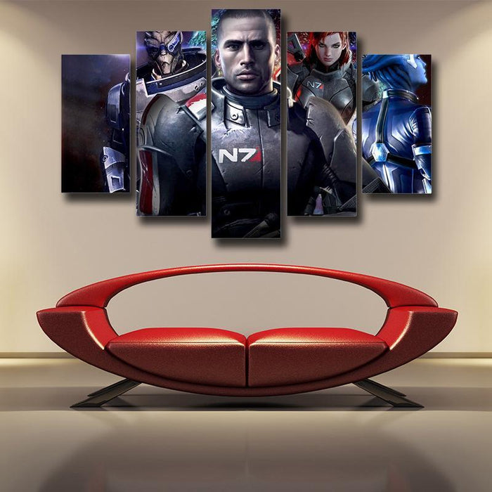 Mass Effect Captain Shepard Portrait War Hero Game 5pc Poster Prints