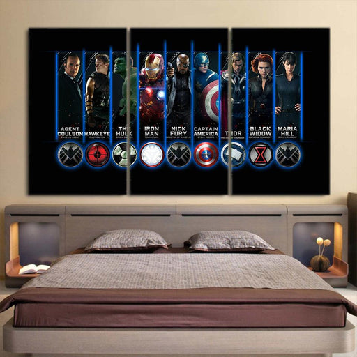 The Avengers All Main Characters Symbol Cool 3Pcs Wall Art