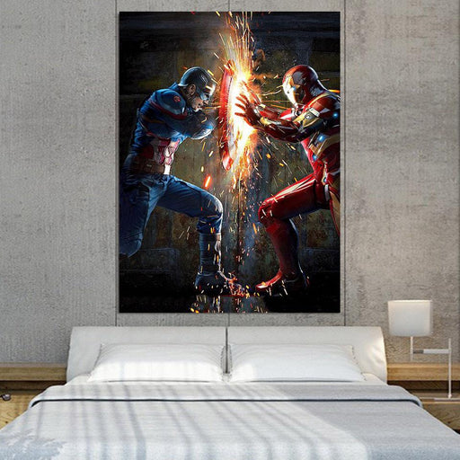 The Avengers Iron Man Fighting Captain America 1pcs Wall Art
