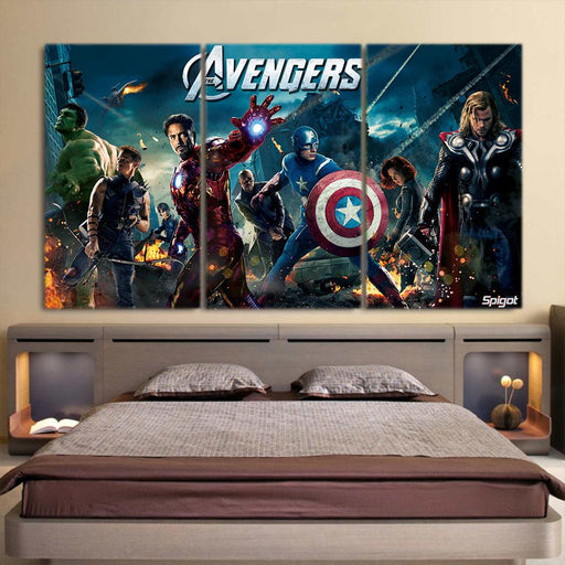 The Avengers Superheroes Movie Poster Vibrant 3Pcs Wall Art