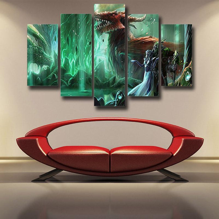 World of Warcraft Elf Dragon Fantasy Gaming Art 5pc Wall Art Prints
