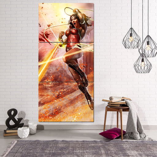 Wonder Woman Superhero Warner Bros Fighting Cool 3 Pcs Canvas Vertical