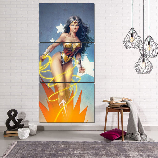DC Comics Sexy Wonder Woman Golden Lasso Light Blue 3 Pcs Canvas Vertical