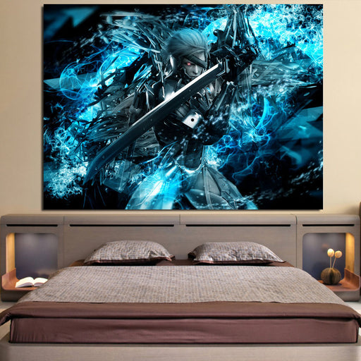 Metal Gear Raiden With Sword Vibrant Blue 1pc Canvas Print