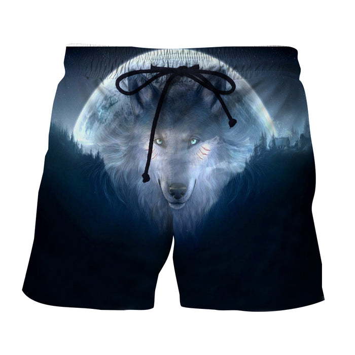 Mysterious Wolf Face Night Moon 3D Printed Cool Shorts