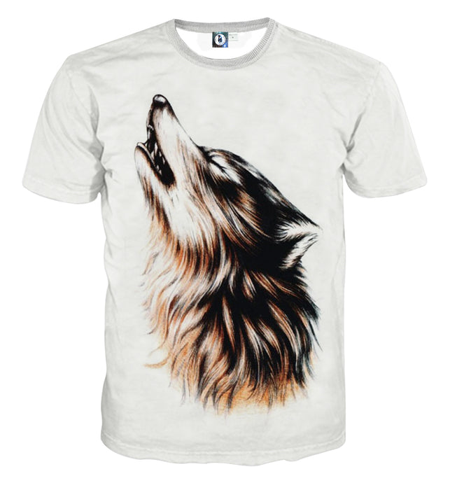 Realistic Wolf Design Art Streetwear White T-Shirt