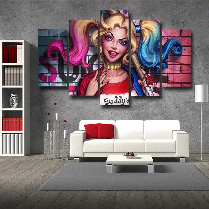 Suicide Squad Harley Quinn Half Portrait 5pcs Canvas Wall Art
