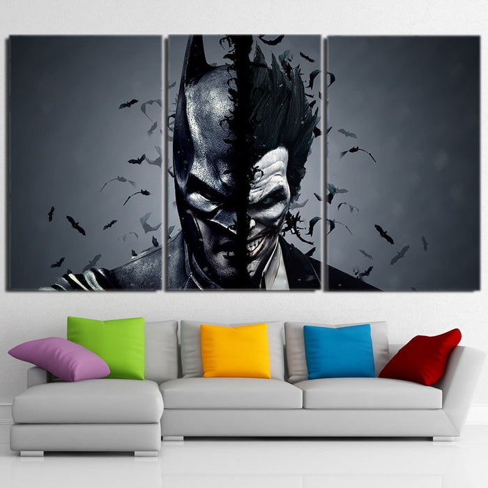 Batman And The Villain In One Face 3pcs Canvas Horizontal Style - Superheroes Gears