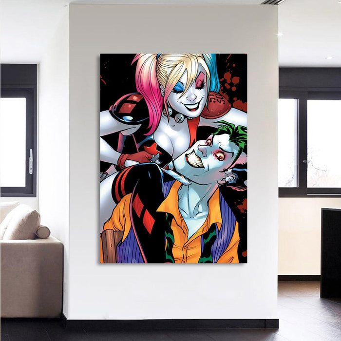 Harley Quinn And Joker Scary Suicide Squad 1pc Vertical Canvas