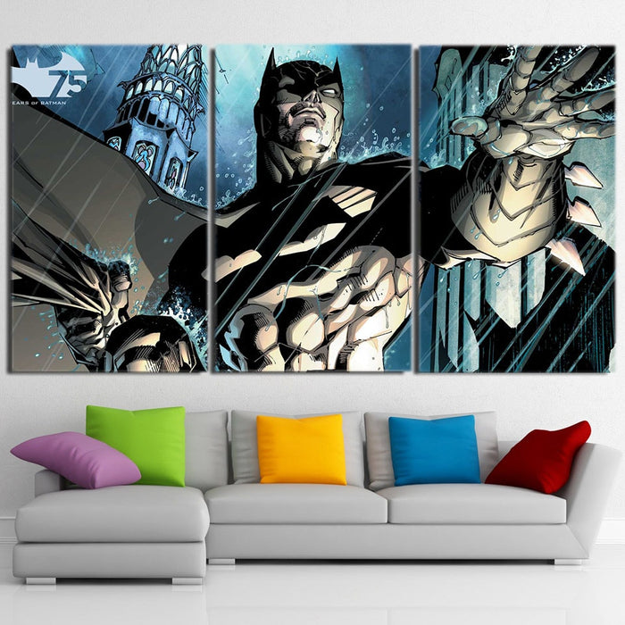 Batman Caught Up Fighting Under The Rain 3pcs Canvas Horizontal - Superheroes Gears