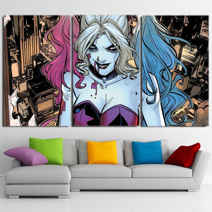 Bloody Scary Daring Harley Quinn Full Print 3 Pcs Canvas Horizontal Style