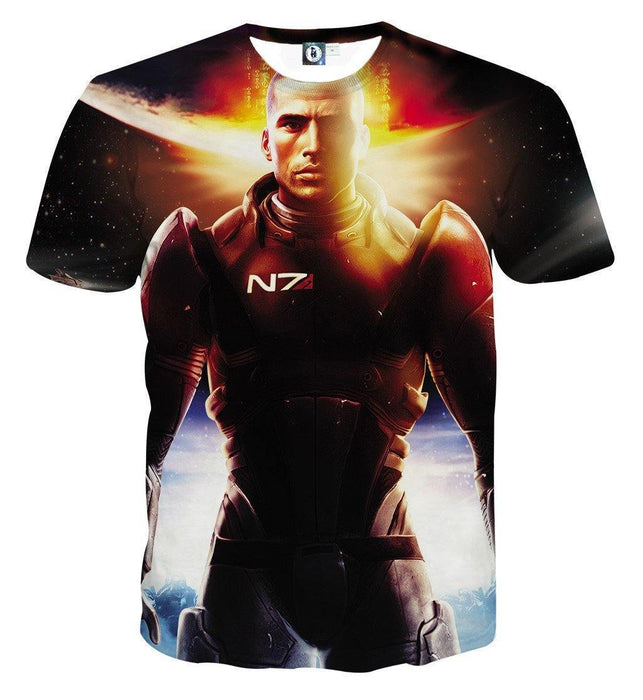 Mass Effect Commander Shepard Soldier Cool Game T-Shirt