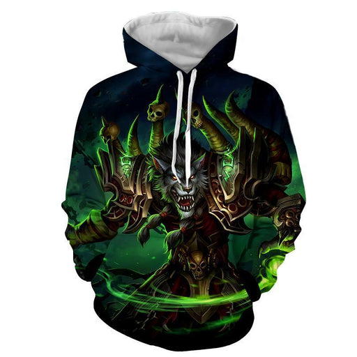 World of Warcraft Worgen Warlock Fanart Cool Game Hoodie
