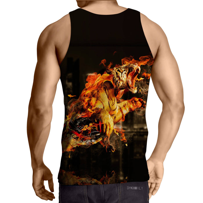 Flaming Tiger Attack Powerful Impressive Design Tank Top - Superheroes Gears