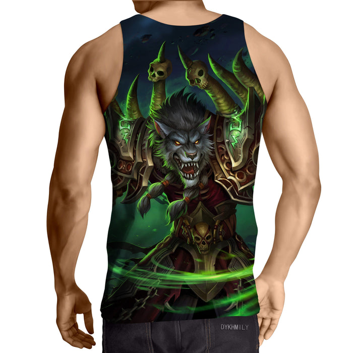 World of Warcraft Worgen Warlock Fanart Cool Game Tank Top