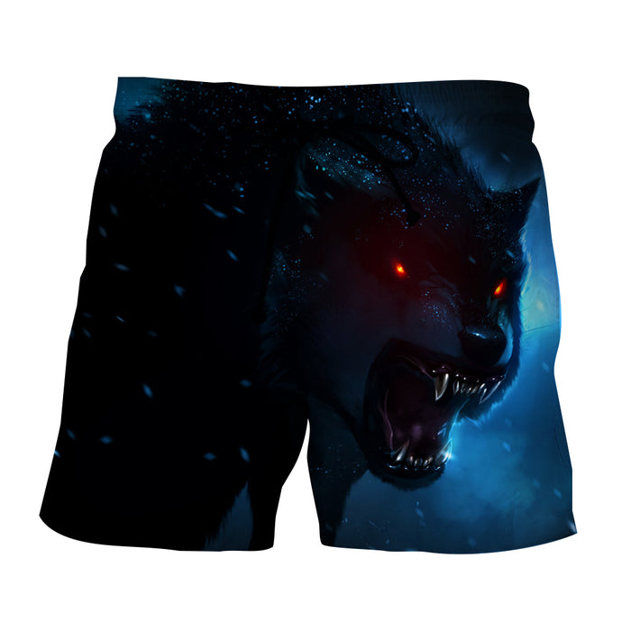Wolf With Red Eyes And Sharp Teeth Vibrant Blue Boardshorts