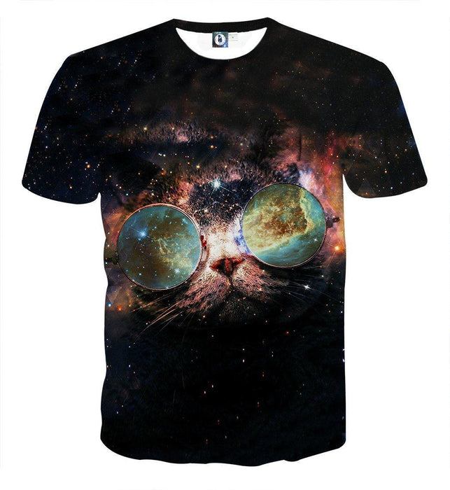 Dope Cat Sunglasses Galaxy Back Ground Creative T-Shirt - Superheroes Gears
