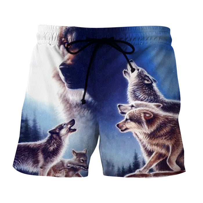 Impressive Wolf Pack Realistic Design Trendy Boardshorts