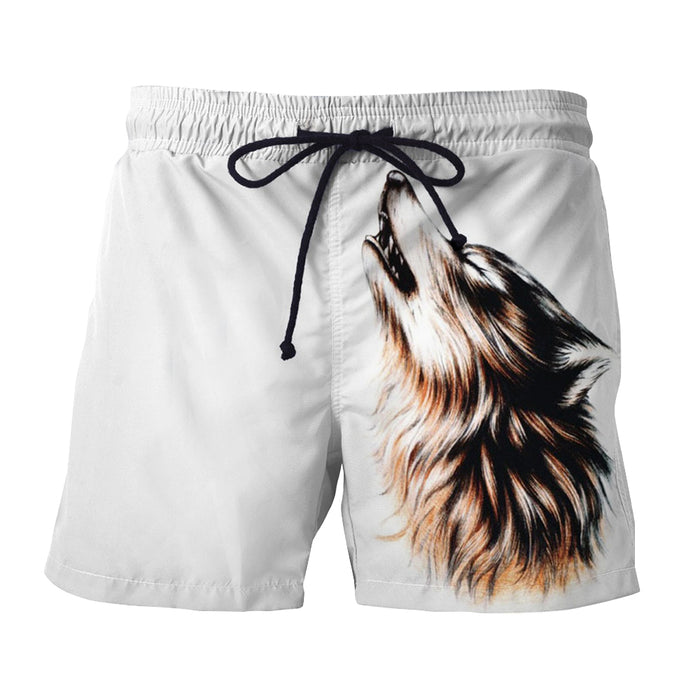 Realistic Wolf Design Artistic Streetwear White Boardshorts