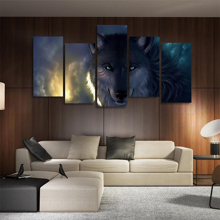 Smiling Mysterious Scarred Wolf Cloudy Sky 5PCS Canvas Prints