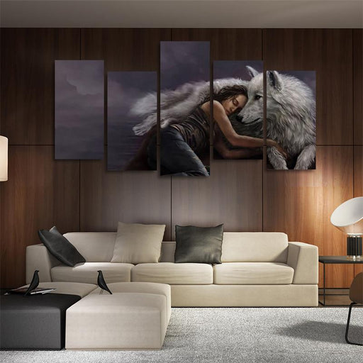 White Wolf Look After A Sleeping Woman 5PCS Canvas Prints