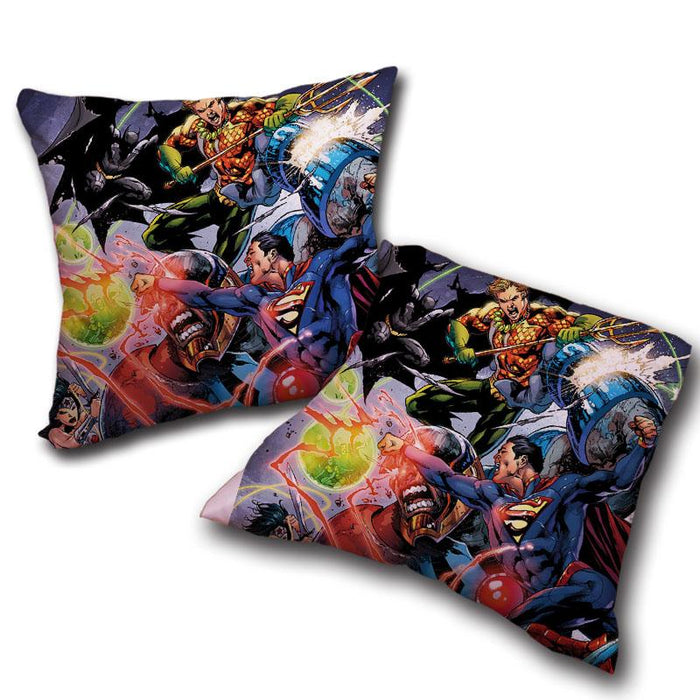 Justice League Fighting Scene Cool Design Full Print Throw Pillow - Superheroes Gears