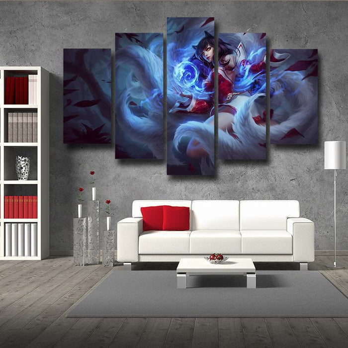 League of Legends Ahri Nine Tails Fox Female Champion Print 5pc Wall Art - Superheroes Gears