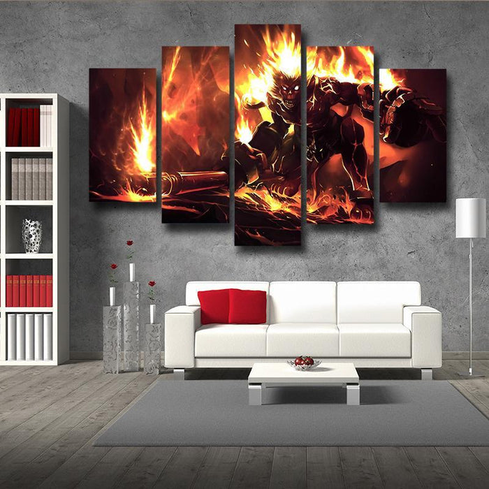 League of Legends Volcanic Wukong Attacking Gaming Cool 5pc Wall Art
