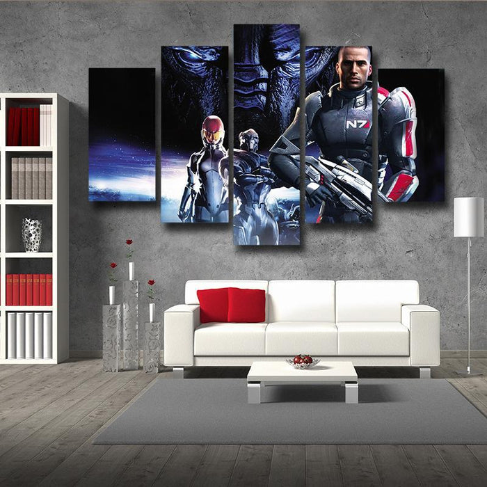 Mass Effect Captain Shepard Portrait War Hero Game 5pc Wall Art Prints