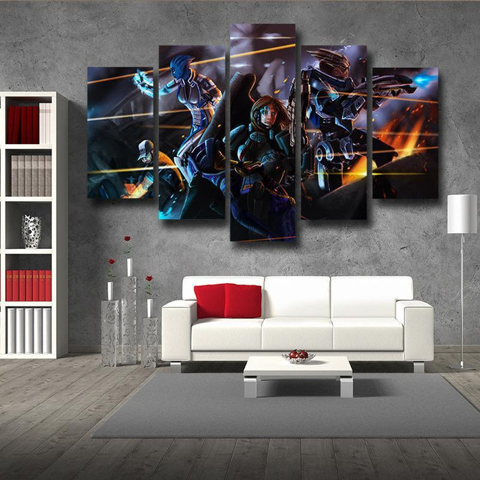 Mass Effect Female Fighter Cartoon Style Fan Art 5pc Wall Art Poster Prints
