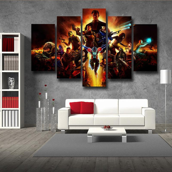 Mass Effect Main Characters Cartoon Style Gaming 5pc Wall Art Prints