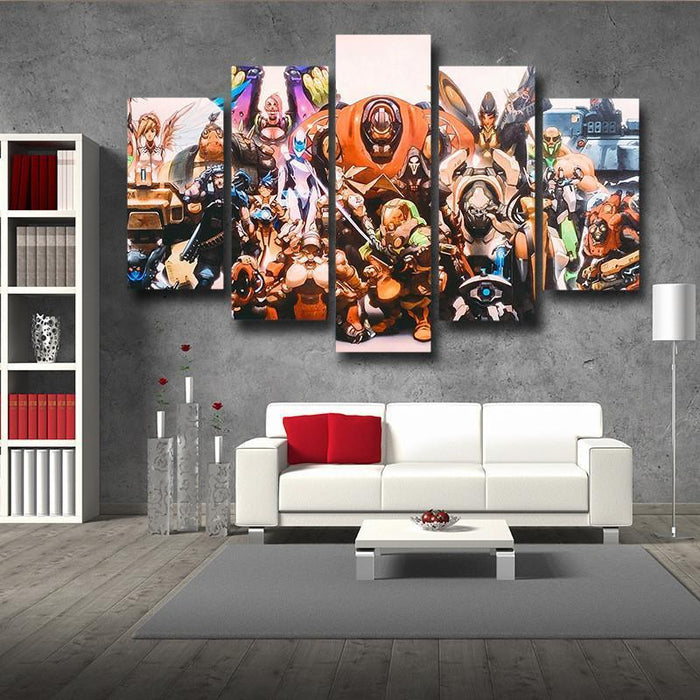 Overwatch All Character Hero 5pc Wall Art Decor Canvas Prints