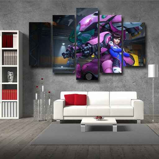 Overwatch D.Va MEKA Mech 5pc Wall Art Decor Canvas Prints