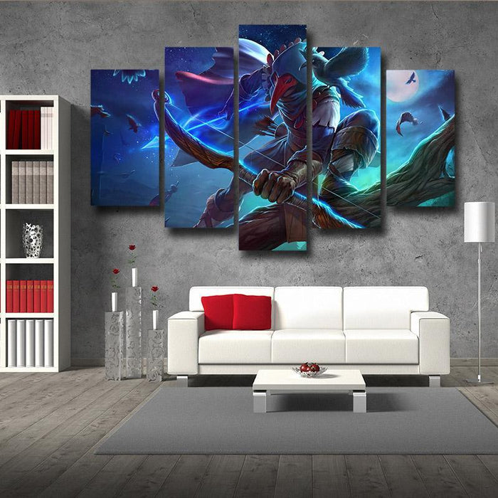 World of Warcraft Archer Raven Mask Vibrant Design 5pc Wall Art Prints
