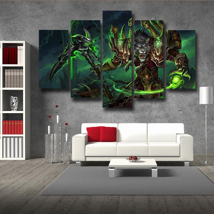 World of Warcraft Worgen Warlock Fanart Cool Game 5pc Wall Art Prints