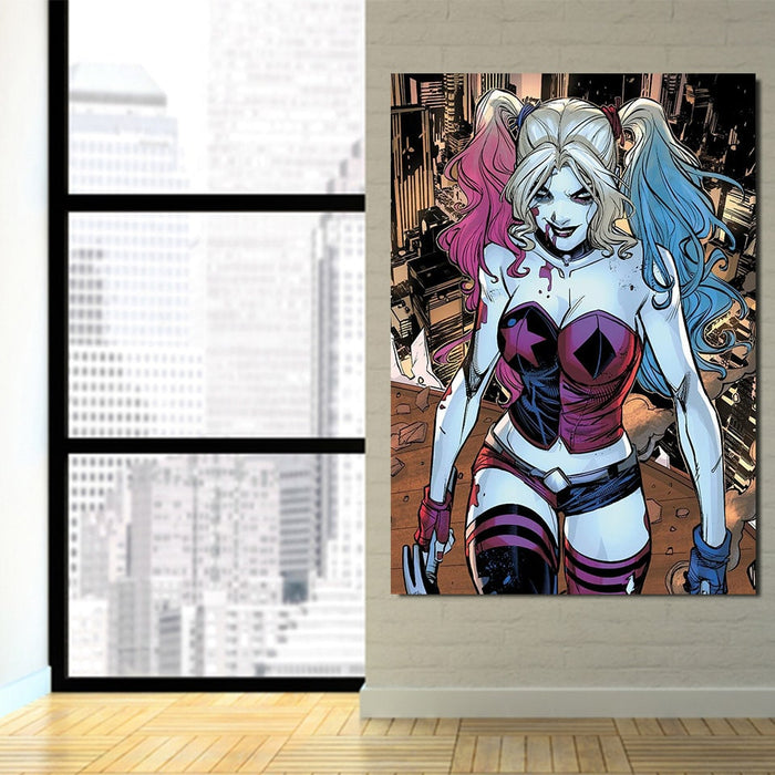 Bloody Scary Daring Harley Quinn Full Print 1pc Vertical Canvas
