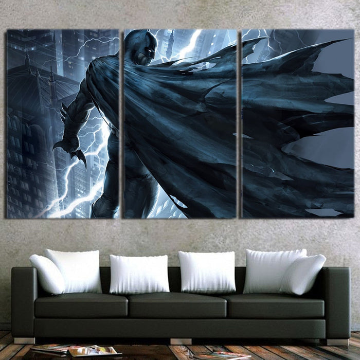 Batman Standing Under The Thunderlight 3pcs Canvas Horizontal - Superheroes Gears