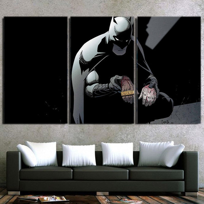 Batman The Black Mask Sorrow With People 3pcs Canvas Horizontal - Superheroes Gears