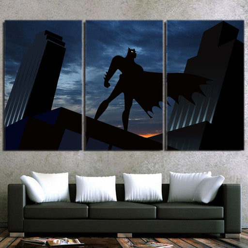 Batman Superhero Silhouette On the Sunset 3pcs Canvas Wall Art - Superheroes Gears