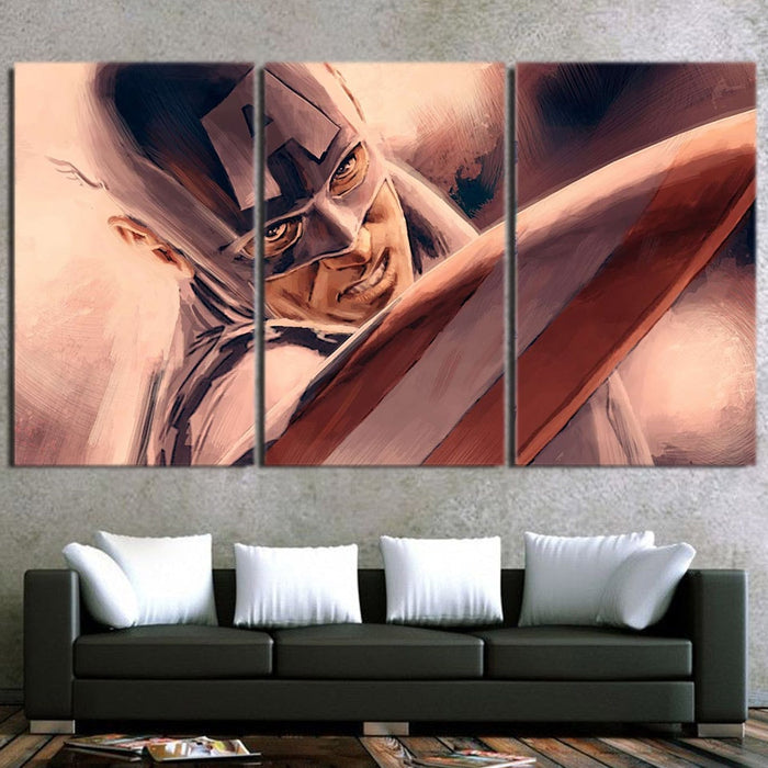 Captain America Close Up Paint Art 3pcs Canvas Horizontal