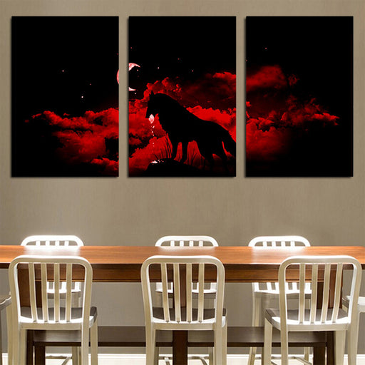 Amazing Silhouette Of Wolf Bloody Red Night 3PCS Canvas Prints